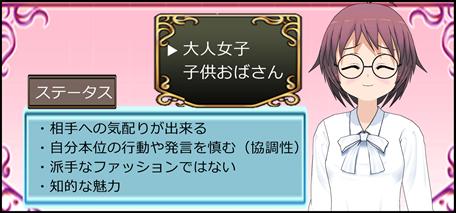 大人女子RPG風ステータス画面