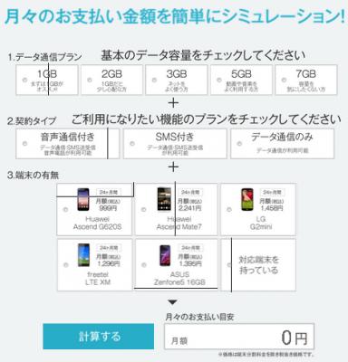DMM mobile月額シミュレーションキャプチャ