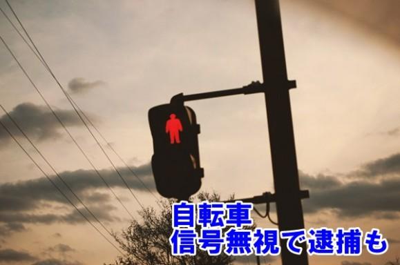 信号と自転車