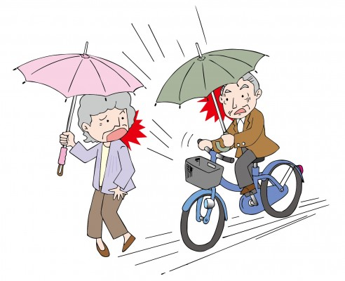 危険な傘差し自転車運転