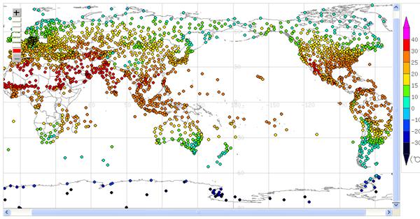 気象庁提供世界の天候データ