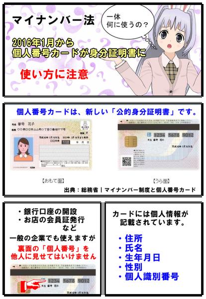 個人番号カードの使い方と注意点を漫画で説明