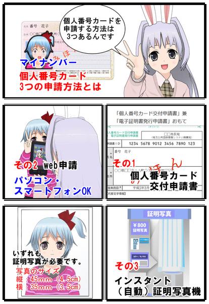 マイナンバー個人番号カード3つの申請方法を漫画で説明