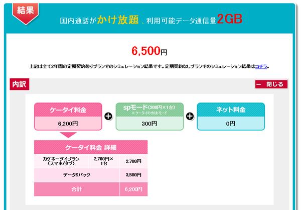 ドコモスマートフォン2GBプランシミュレーション結果
