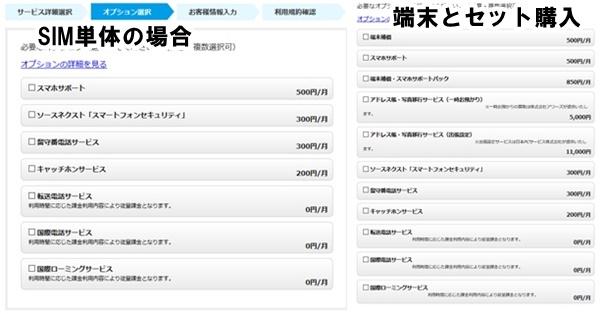 楽天モバイルオプション選択画面