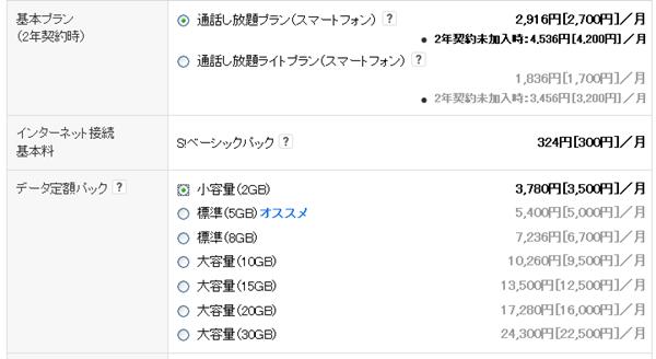 ソフトバンクプラン料金内訳