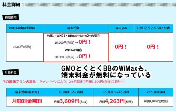 GMOとくとくBBのWiMaxも端末代金は無料になっています