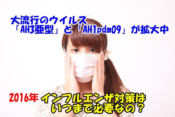 インフルエンザ対策をしている女性