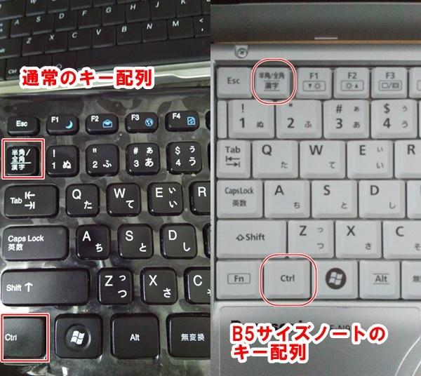 ノートパソコンのキー配列A4型とB5型の比較