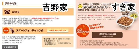 牛丼チェーン店の予約画面