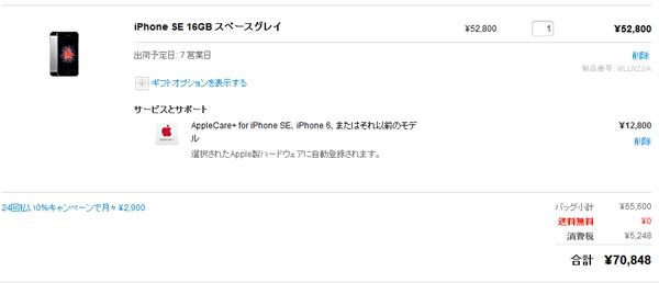 iPhoneSEの購入画面