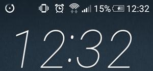 スマートフォンの電池残量15%