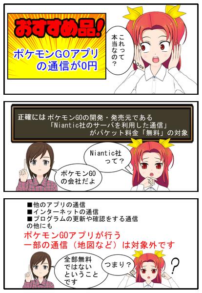 ポケモンgo専用simで無料になる部分は?漫画で説明