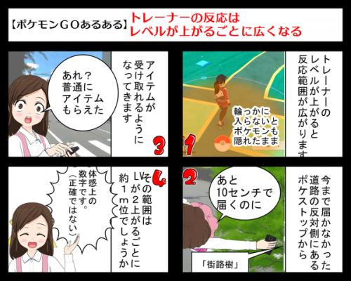 ポケモンGoあるあるネタトレーナーレベルと感知範囲の関係を4コマ漫画で説明