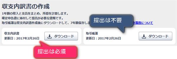 無料ソフト「やよいの白色申告」の収支内訳書のダウンロード場所
