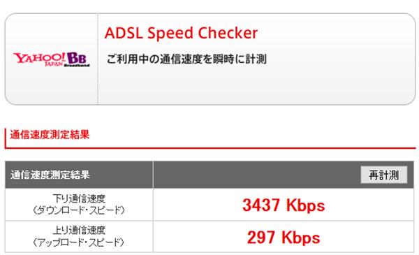 Yahoo!Wi-Fi LTEの速度結果 Yahoo! BB ADSL Speed Checker:http://speedchecker.bbtec.net/より
