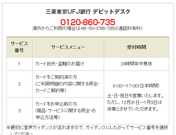 UFJデビットカードのサポート電話番号