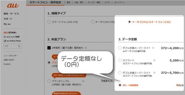 au3Gパケット定額0円