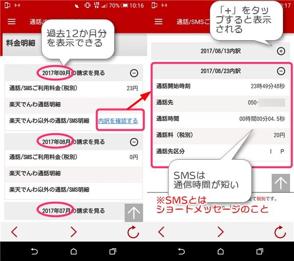 通話SMS明細の見方