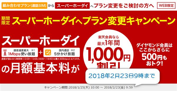 スーパーホーダイのプラン変更キャンペーン(楽天会員割)