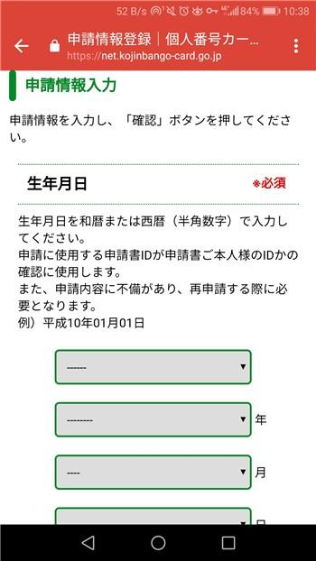 申請情報入力(生年月日